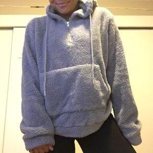COZY Grey Fuzzy Sherpa Hoodie